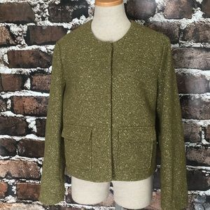 A New Day Blazer Jacket Green Gold Tweed Pocket 14